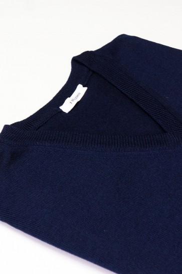 Pullover V-Auschnitt Merinowolle made in Italy Blau Gr 50