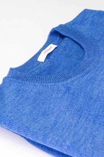 Pullover Rundhals Merinowolle made in Italy hellblau Gr. 50