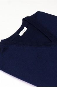 Pullover V-Auschnitt Merinowolle made in Italy Blau Gr 52