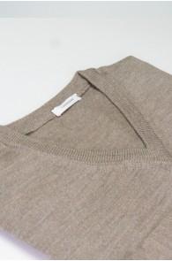 Pullover V-Auschnitt Merinowolle made in Italy dunkel Beige Gr 52
