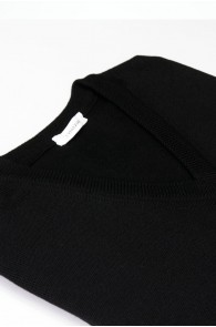 Pullover V-Auschnitt Merinowolle made in Italy Schwarz Gr 48