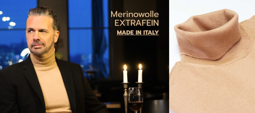 Rollkragen Merinowolle Made in Italy